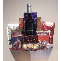 Chocolate Lover's Basket with wine